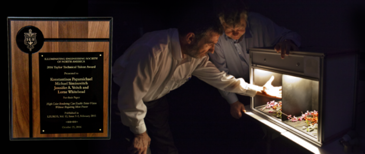 Professor Konstantinos Papamichael and Professor Lorne Whitehead examining differences in color using a color viewing booth.