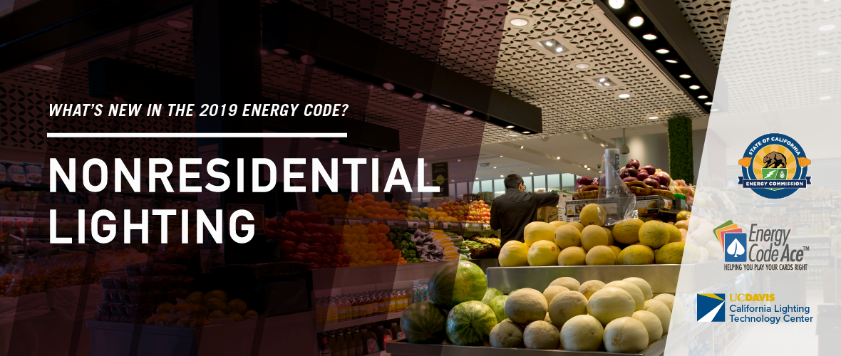 Banner for What's New - Nonresidential Lighting document. Man unloading produce in the produce section of a grocery store.