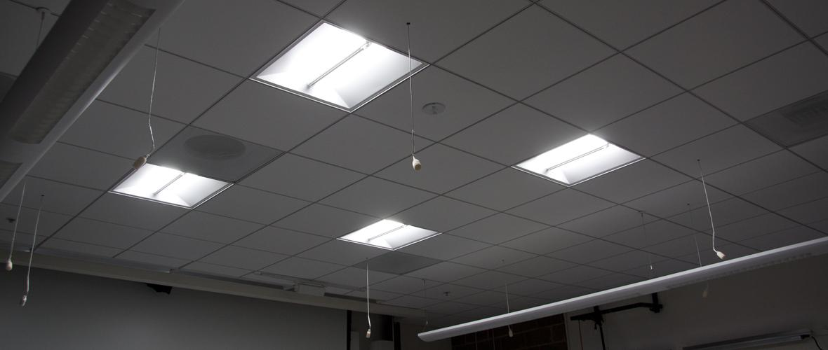 Installation of CREE CR22 2' x 2' ceiling light fixtures inside CLTC's classroom.