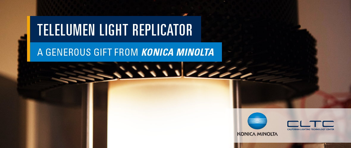 A close-up shot of a Konica Minolta telelumen light replicator.