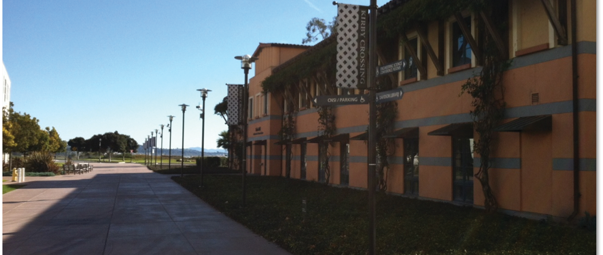 Post-top fixtures at Kirby Crossing in the University of California, Santa Barbara (UCSB).